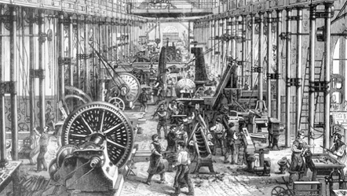 the major changes in industrial production that dominated the late 19th century Industrial revolution: the major technological, socioeconomic and cultural change in the late 18th and early 19th century resulting from the replacement of an economy.